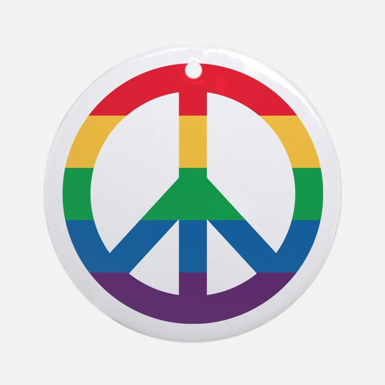 Rainbow Peace Sign Round Ornament