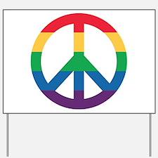 Rainbow Peace Sign Yard Sign