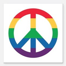 "Rainbow Peace Sign Square Car Magnet 3"" X 3&q"