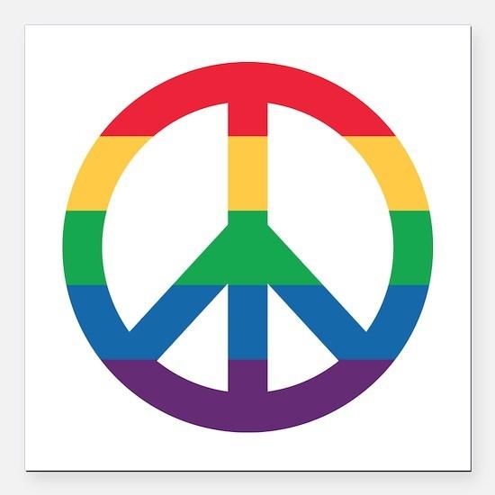 "Rainbow Peace Sign Square Car Magnet 3"" X 3&q"