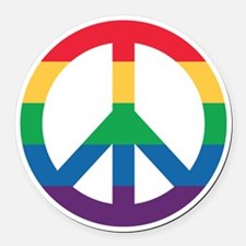 Rainbow Peace Sign Round Car Magnet