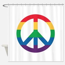 Rainbow Peace Sign Shower Curtain