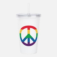 Rainbow Peace Sign Acrylic Double-Wall Tumbler