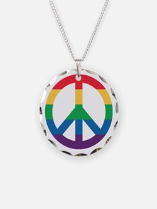 Rainbow Peace Sign Necklace