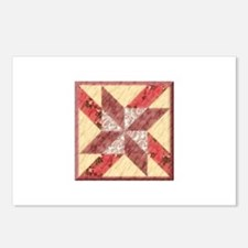 Quilt Block red Yellow Postcards (Package of 8)