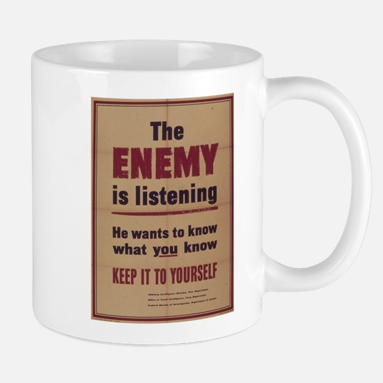 Vintage poster - The Enemy is Listening Mugs