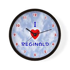 I Love Reginald (Red/Bl) Valentine Wall Clock