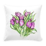 Purple Tulips Everyday Pillow