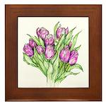 Purple Tulips Framed Tile
