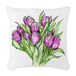 Purple Tulips Woven Throw Pillow