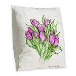 Purple Tulips Burlap Throw Pillow