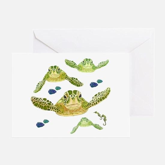 Sea turtles, fish and sea horses 2 Greeting Card