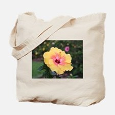 Pink yellow hibiscus flower Tote Bag