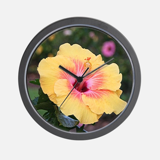 Pink yellow hibiscus flower Wall Clock