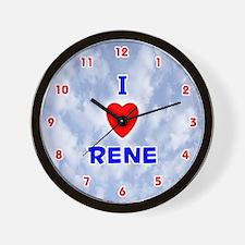 I Love Rene (Red/Bl) Valentine Wall Clock