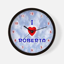I Love Roberta (Red/Bl) Valentine Wall Clock
