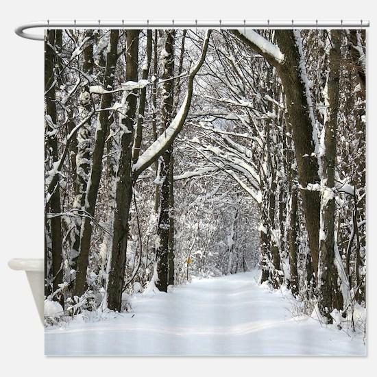 Snow trail Shower Curtain