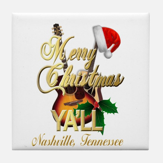 Merry Christmas Ya'll from Nashvi Tile Coaster