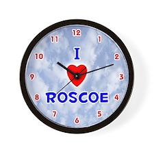 I Love Roscoe (Red/Bl) Valentine Wall Clock