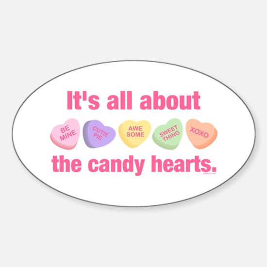 Candy Hearts II Oval Decal