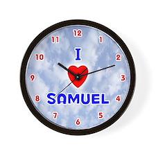 I Love Samuel (Red/Bl) Valentine Wall Clock