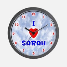 I Love Sarah (Red/Bl) Valentine Wall Clock