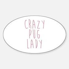 Funny Pug cute Sticker (Oval)