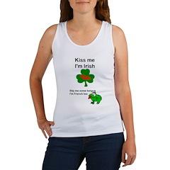 KISS ME IM IRISH AND FRENCH Women's Tank Top