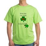 KISS ME IM IRISH AND FRENCH Green T-Shirt