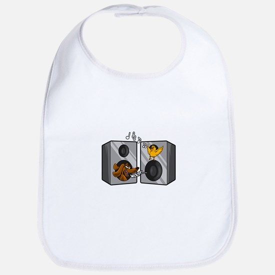 Dog and Songbird Rock and Roll Music Spea Baby Bib