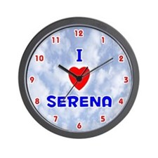 I Love Serena (Red/Bl) Valentine Wall Clock