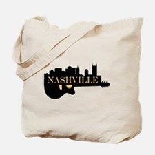 Nashville Guitar Skyline Tote Bag