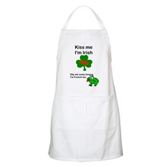 KISS ME IM IRISH, FROG WITH TONGUE BBQ Apron