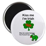 KISS ME IM IRISH, FROG WITH TONGUE Magnet