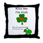 KISS ME IM IRISH, FROG WITH TONGUE Throw Pillow
