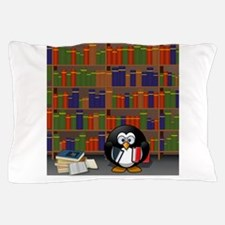 Studious Penguin in Library Pillow Case