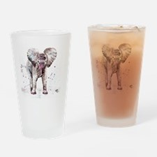 Cute Mother elephant and baby elephant Drinking Glass