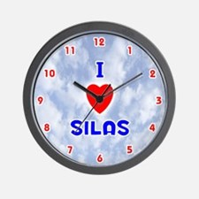 I Love Silas (Red/Bl) Valentine Wall Clock