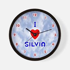 I Love Silvia (Red/Bl) Valentine Wall Clock