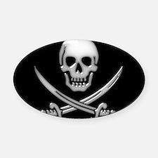 Glassy Skull and Cross Swords Oval Car Magnet