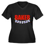 Retired Baker Women's Plus Size V-Neck Dark T-Shir