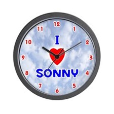 I Love Sonny (Red/Bl) Valentine Wall Clock
