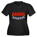 Retired Barber Women's Plus Size V-Neck Dark T-Shi