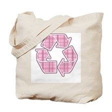 Pink Plaid Recycle Sign Tote Bag