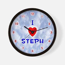 I Love Steph (Red/Bl) Valentine Wall Clock