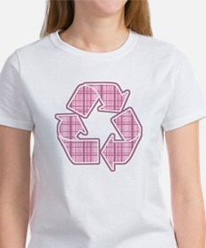 Pink Plaid Recycle Sign Women's T-Shirt