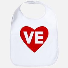 VE (love) Heart Baby Bib