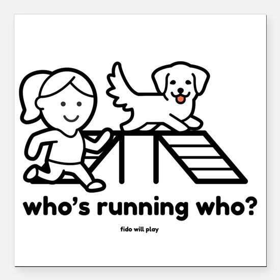 """Agility Who's Running Wh Square Car Magnet 3"""" x 3"""""""