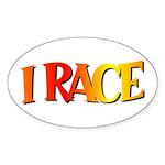 I Race Oval Sticker