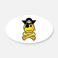 Pirate Boy Emoticon Oval Car Magnet